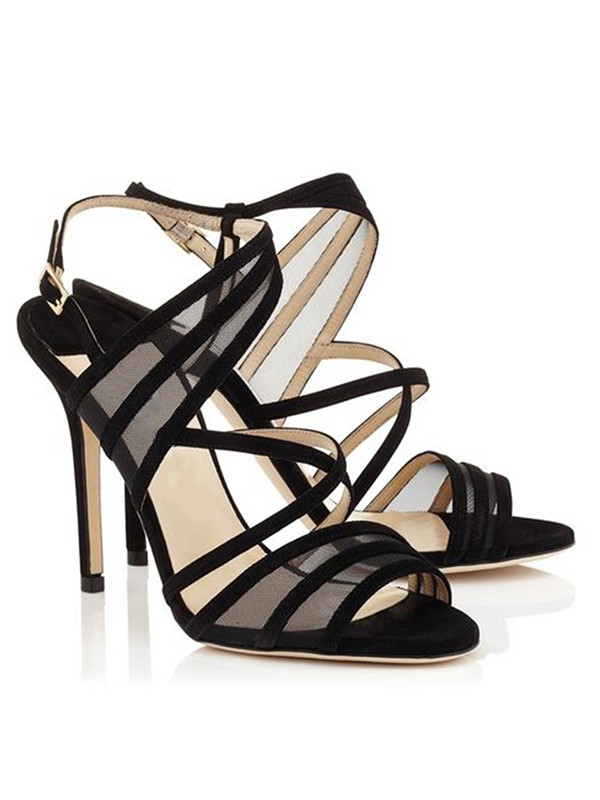 Stiletto Heel Suede Peep Toe With Buckle Sandals Shoes