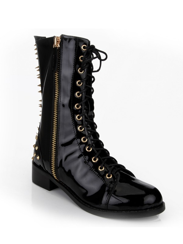 Kitten Heel Closed Toe Patent Leather With Rivet Mid-Calf Black Boots