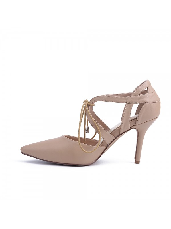 Sheepskin Closed Toe Stiletto Heel With Lace-up Party Sandals Shoes