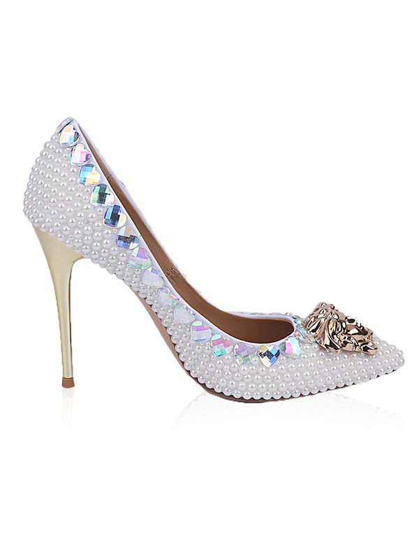 Patent Leather Closed Toe Stiletto Heel With Rhinestone Pearl High Heels