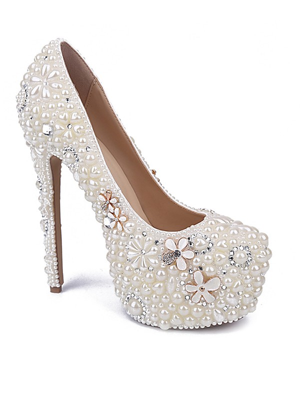 Patent Leather Closed Toe Stiletto Heel With Pearl Rhinestone White Wedding Shoes
