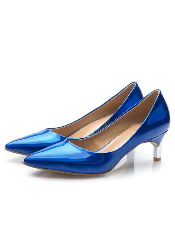 Royal Blue Patent Leather Closed Toe Cone Heel High Heels
