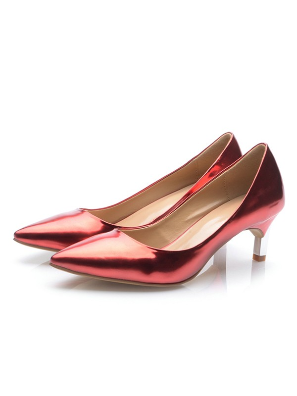 Patent Leather Closed Toe Cone Heel High Heels
