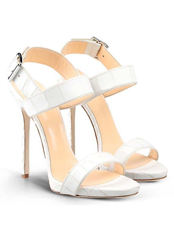 Peep Toe Stiletto Heel Cattlehide Leather With Buckle Party Sandals Shoes