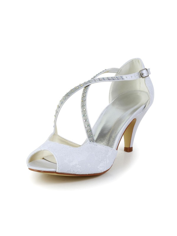 Satin Cone Heel Peep Toe Sandals White Wedding Shoes With Rhinestone Buckle