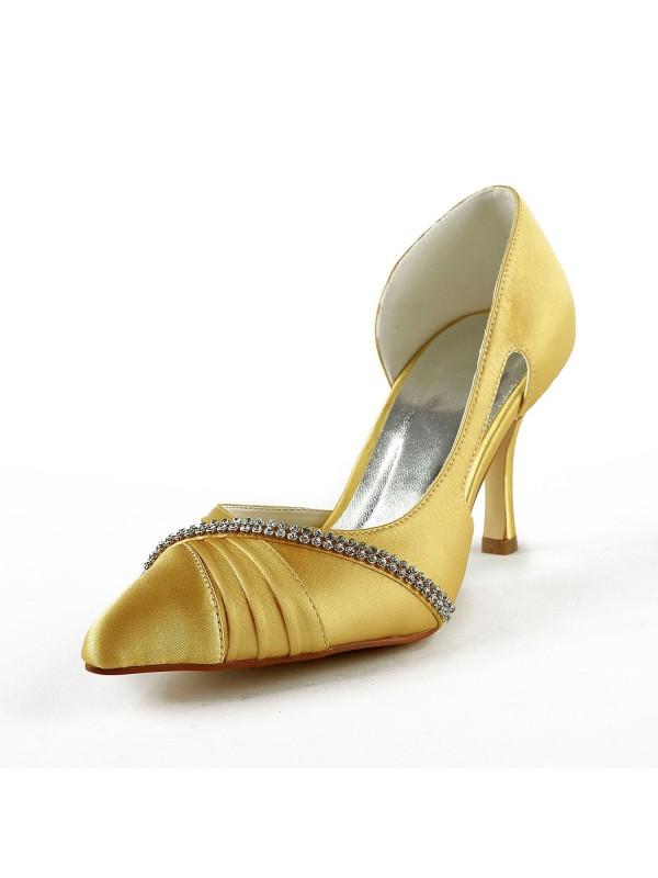 Satin Stiletto Heel Closed Toe Pumps Gold Wedding Shoes With Rhinestone