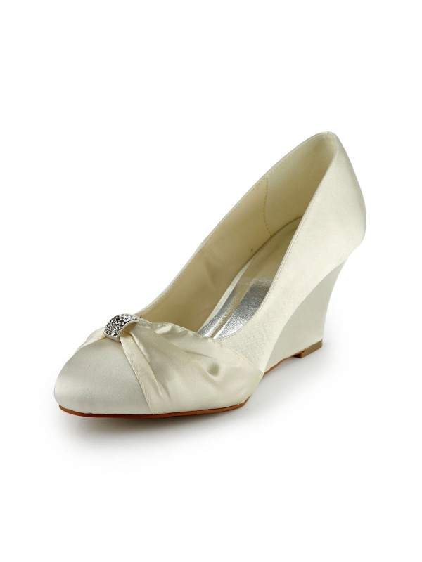 Satin Wedge Heel Wedges With Rhinestone Ivory Wedding Shoes
