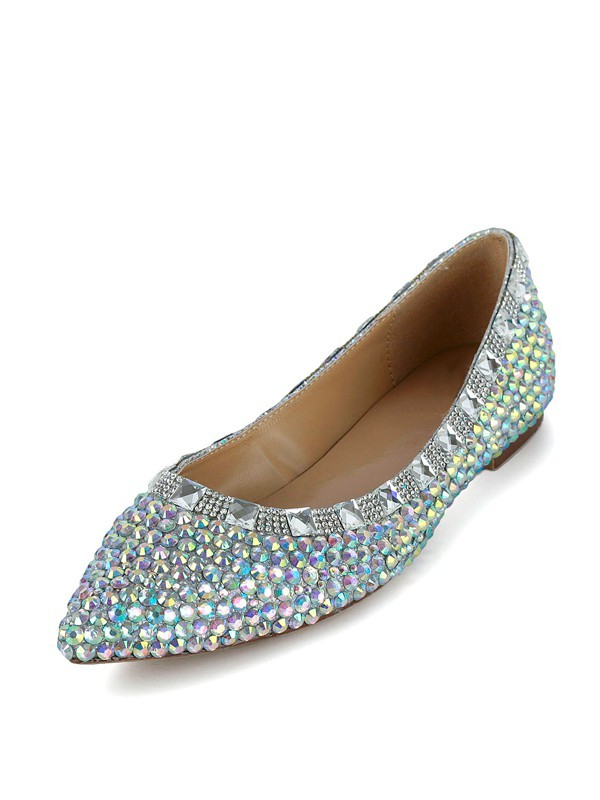 Flat Heel Patent Leather Closed Toe With Rhinestone Flat Shoes
