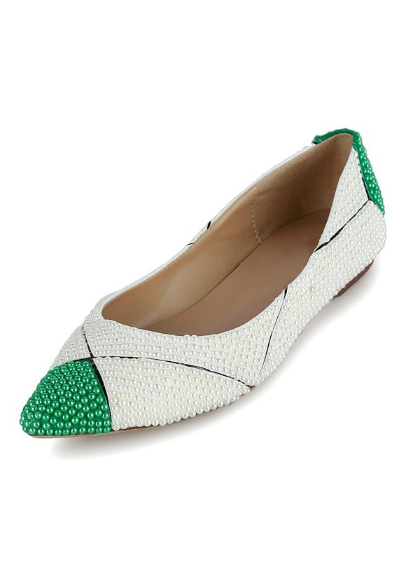 Flat Heel Patent Leather Closed Toe With Pearl Flat Shoes