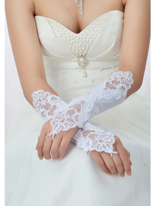 Stunning Beading Lace Satin Bridal Gloves