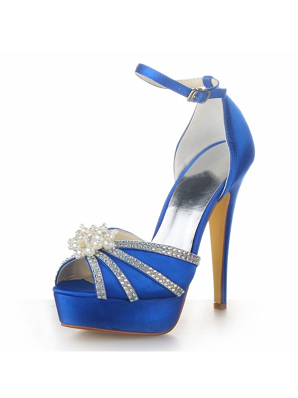 Satin Stiletto Heel Platform Peep Toe With Pearl Royal Blue Wedding Shoes