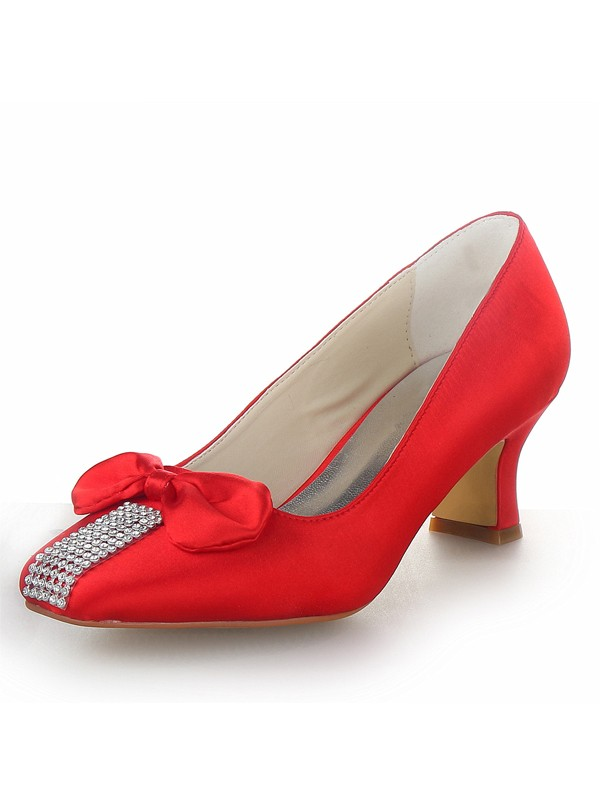 Satin Chunky Heel Closed Toe With Bowknot Party & High Heels