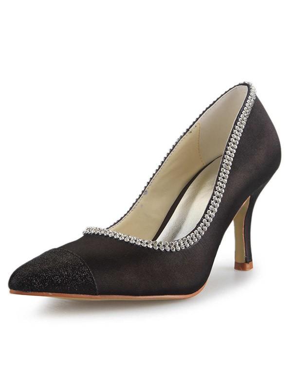 Satin Spool Heel Closed Toe With Rhinestone Office High Heels