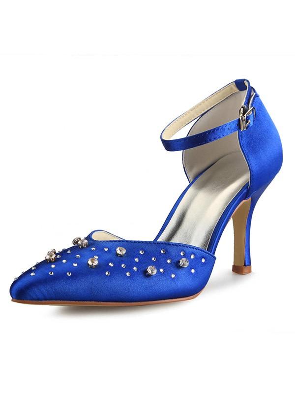 Satin Cone Heel Mary Jane Closed Toe With Rhinestone High Heels