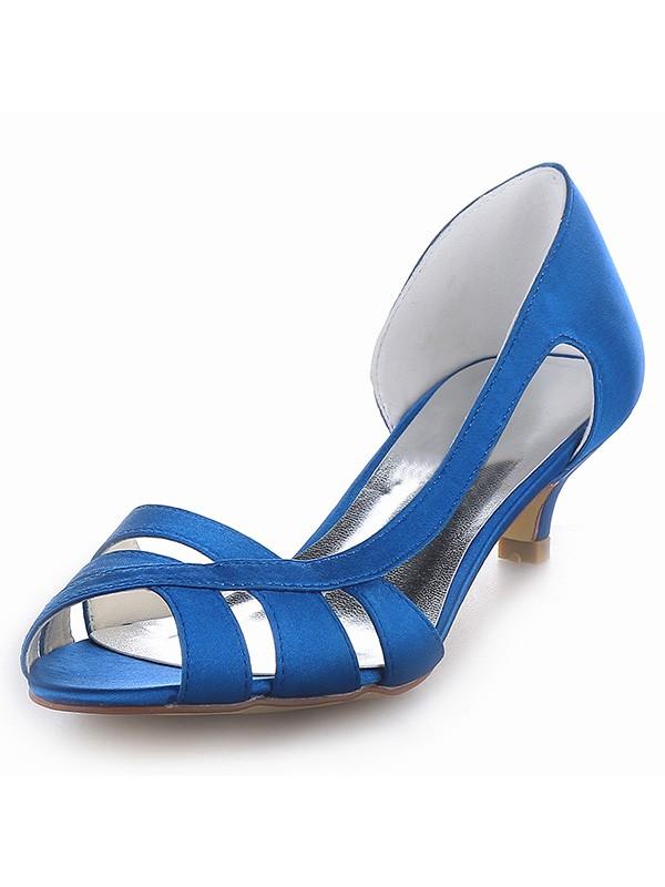 Satin Peep Toe Kitten Heel Sandals Shoes