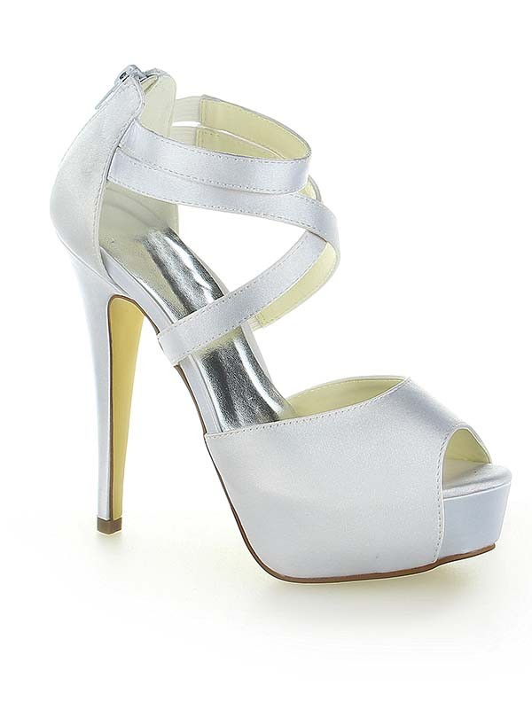 Satin Platform Peep Toe With Zipper Stiletto Heel White Wedding Shoes