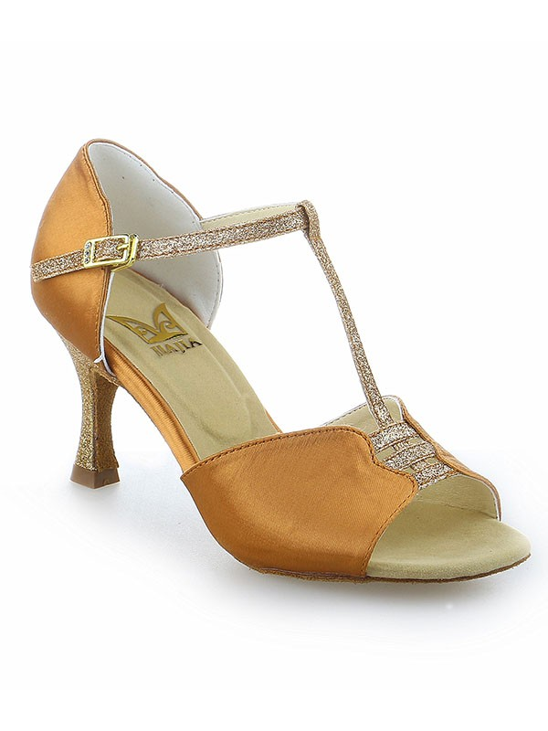 Stiletto Heel Buckle Peep Toe Satin Dance Shoes