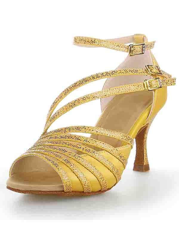 Peep Toe Stiletto Heel Satin Sparkling Glitter Dance Shoes
