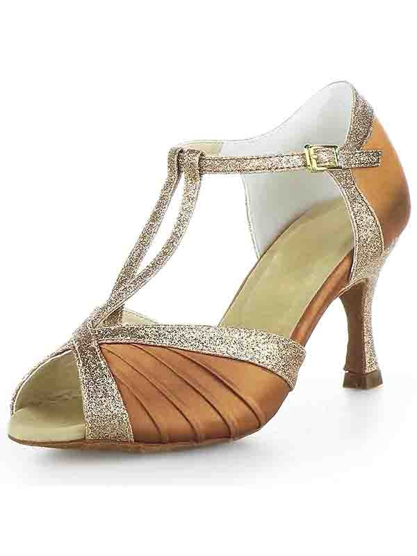 Stiletto Heel Satin Peep Toe Buckle Sparkling Glitter Dance Shoes
