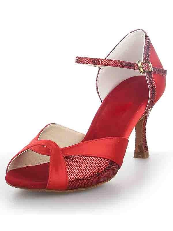Satin Peep Toe Stiletto Heel Sparkling Glitter Dance Shoes