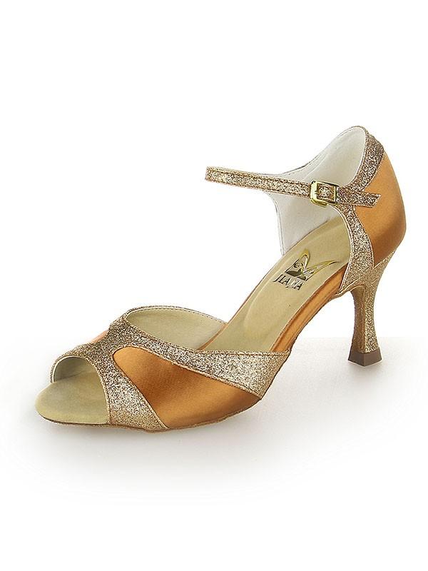 Satin Peep Toe Sparkling Glitter Stiletto Heel Dance Shoes