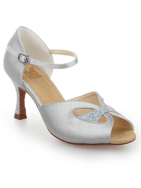 Peep Toe With Buckle Satin Stiletto Heel Dance Shoes