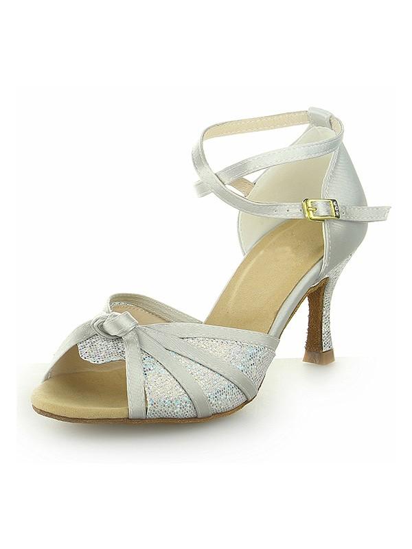 Peep Toe With Sparkling Glitter Satin Stiletto Heel Dance Shoes