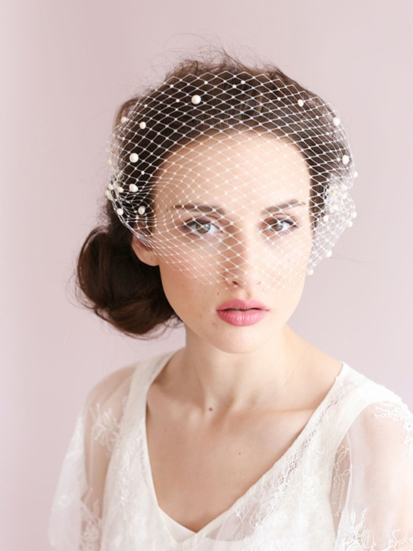 One-tier Birdcage Veils With Imitation Pearls