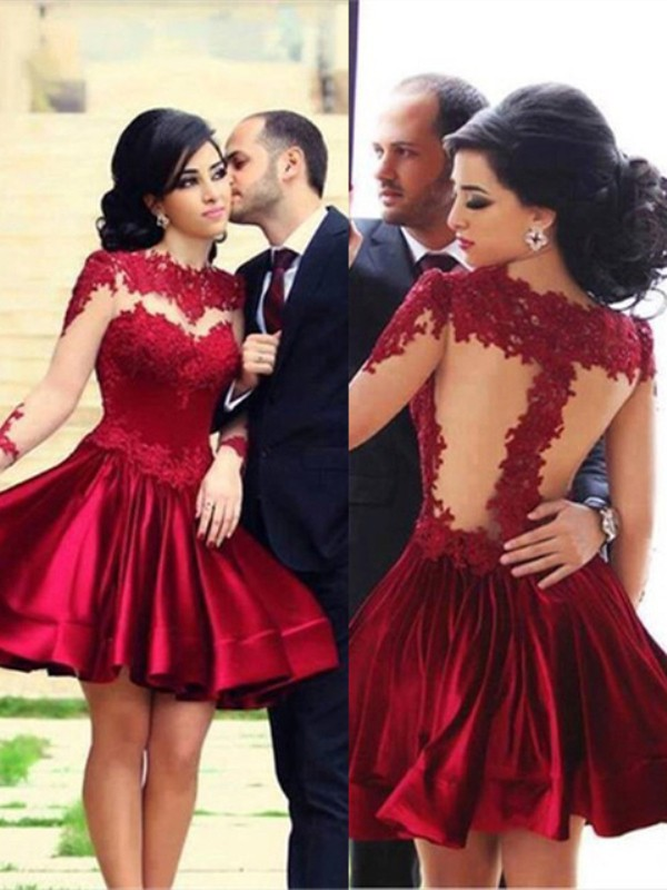 A-Line High Neck Short/Mini Burgundy Prom Dresses with Lace