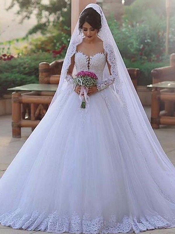 Ball Gown Sweetheart Long Sleeves White Brush Train Lace Tulle Wedding Dresses