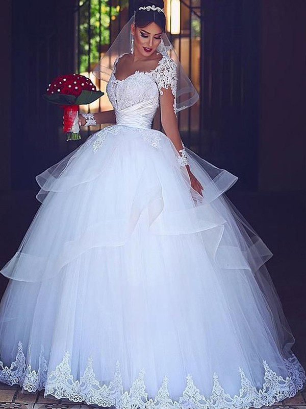 Ball Gown Sweetheart White Long Sleeves Floor-Length Lace Tulle Wedding Dresses