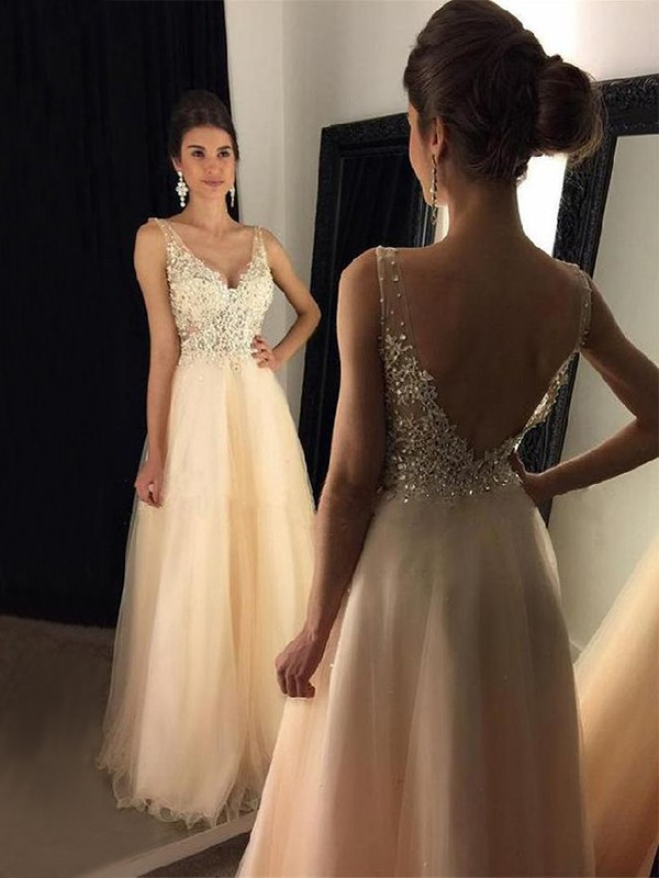 A-Line Sleeveless Floor-Length V-neck Applique Tulle Prom Dresses