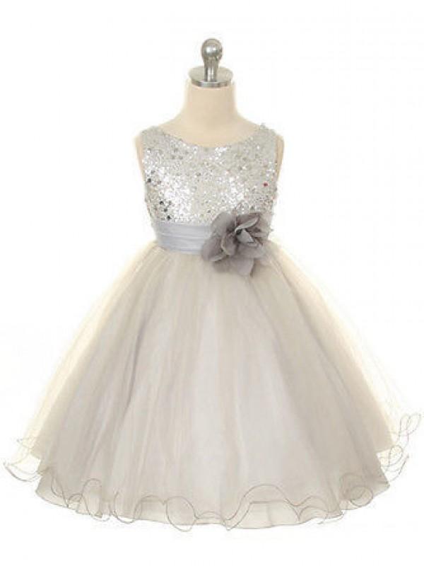 Ball Gown Tulle Jewel Long Flower Girl Dresses