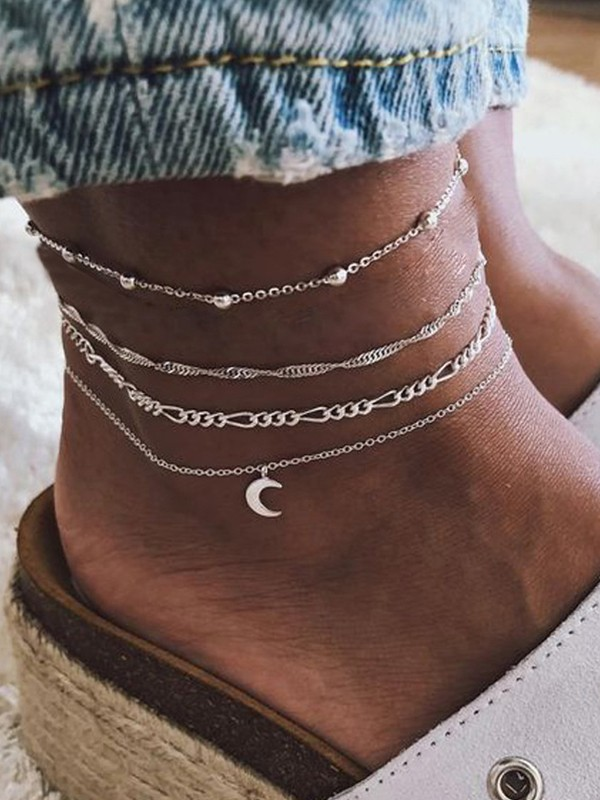 Natural Moon Beads Alloy Anklets(4 pieces)