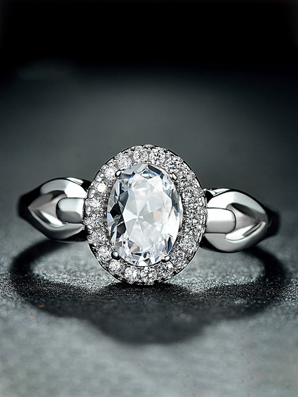 Gorgeous S925 Silver With Zircon Adjustable Wedding Rings