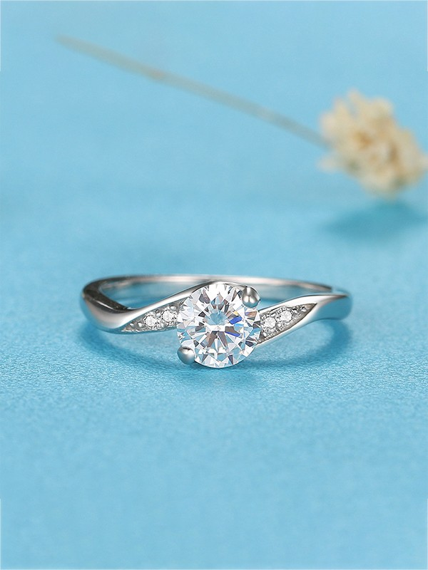 Graceful 925 Sterling Silver With Zircon Hot Sale Wedding Rings