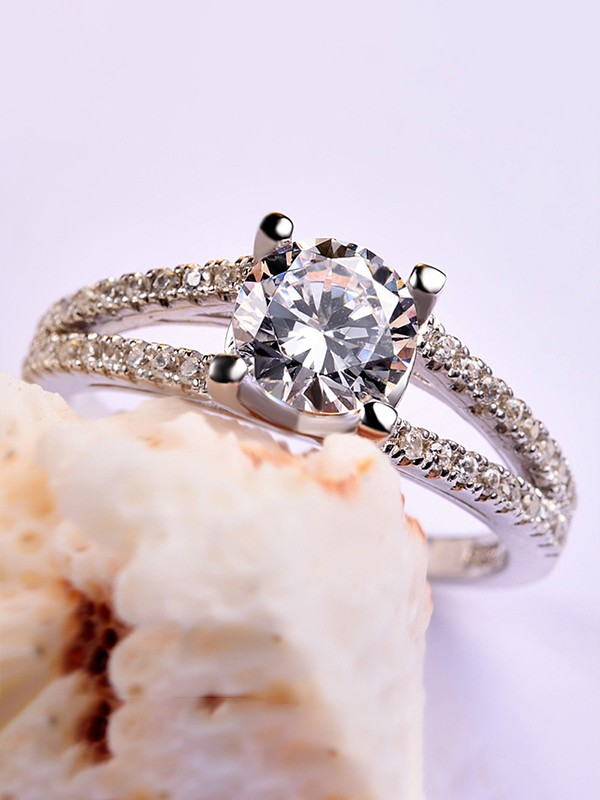 Attractive S925 Silver With Zircon Hot Sale Wedding Rings