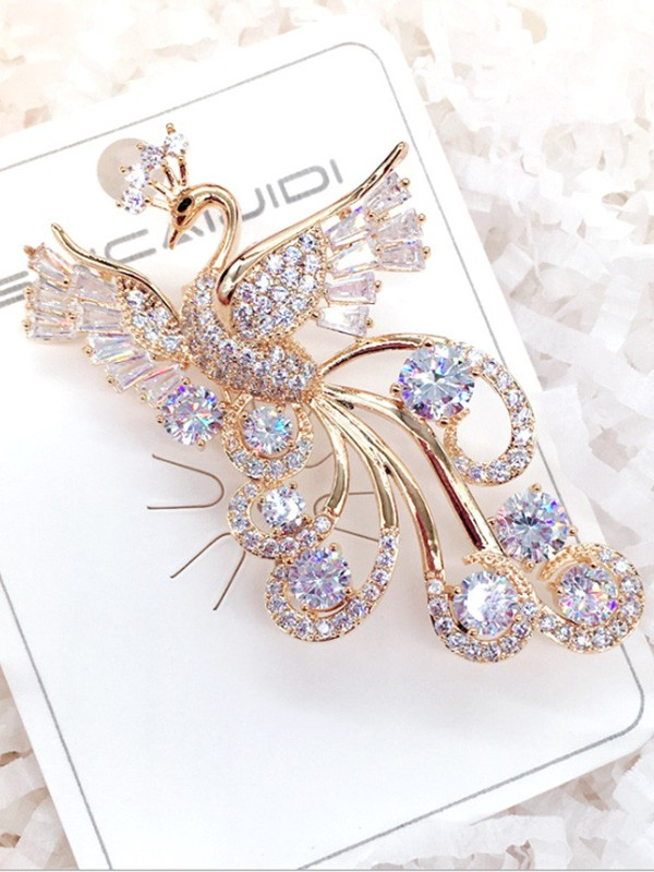 Fancy Alloy With Zircon Ladies' Brooch