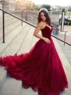 Sweetheart Ball Gown Sleeveless Burgundy Tulle Prom Dresses
