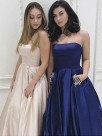 A-Line Strapless Brush Train Beading Satin Prom Dresses