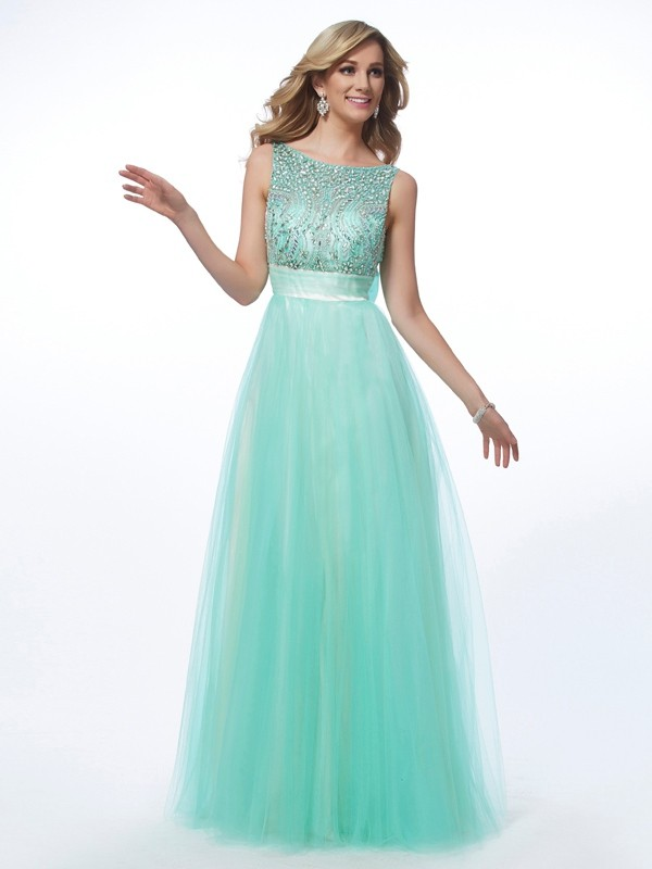 A-Line Bateau Floor-Length Green Prom Dresses