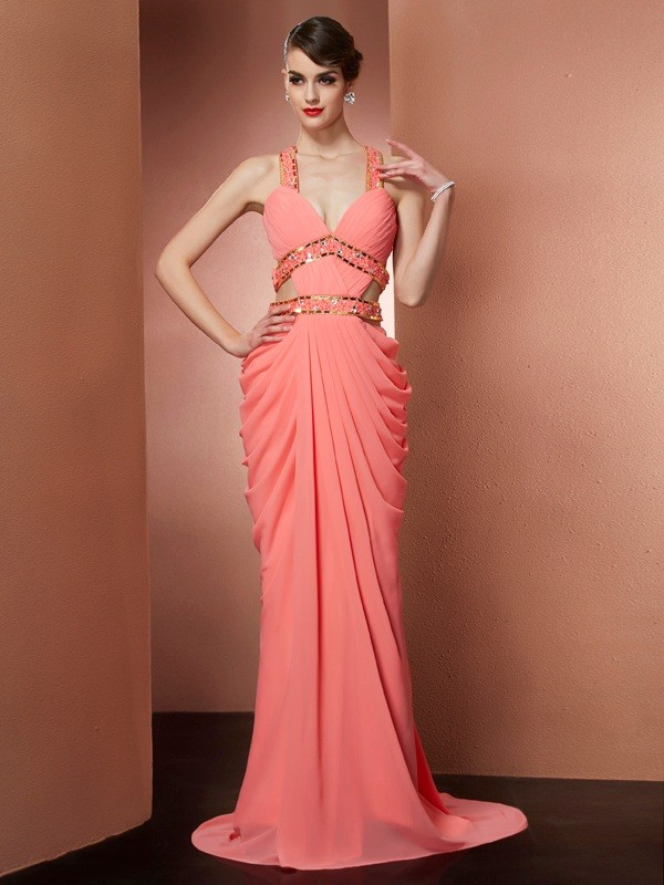Chiffon Halter Brush Train Watermelon Prom Dresses
