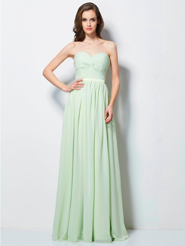 A-Line Sweetheart Floor-Length Sage Prom Dresses