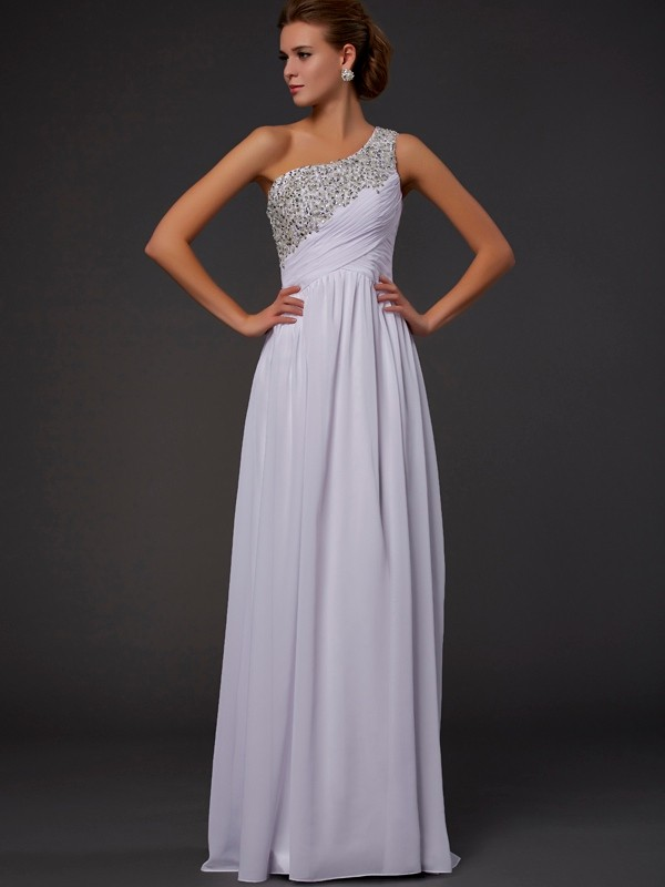 Chiffon Sheath Floor-Length One-Shoulder White Prom Dresses