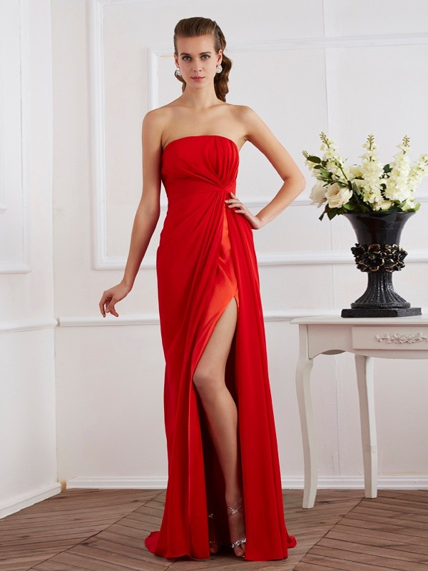 Chiffon Strapless Floor-Length Red Prom Dresses