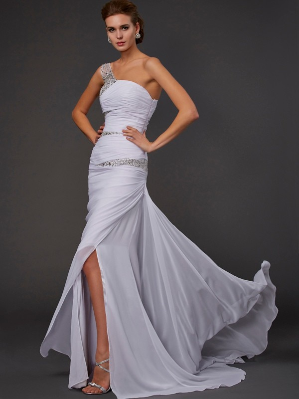 Chiffon Sheath Brush Train One-Shoulder White Prom Dresses