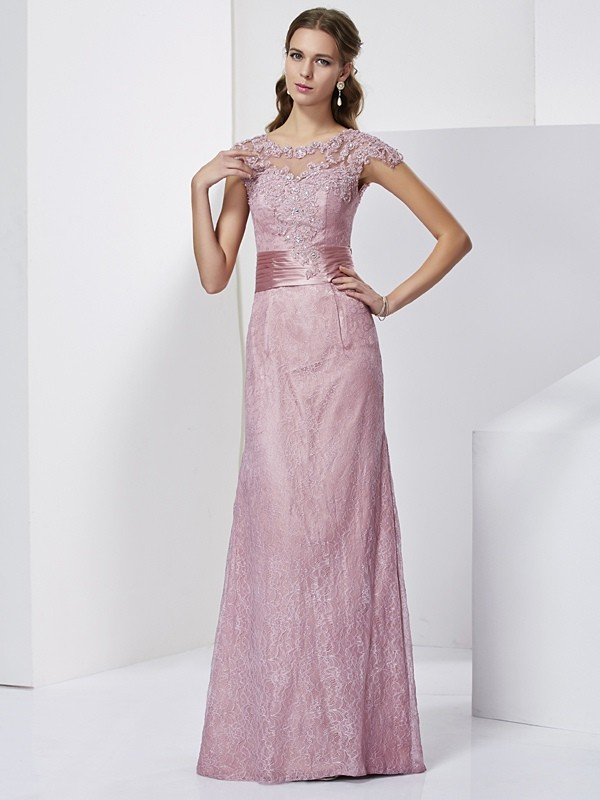 Sheath High Neck Long Pearl Pink Mother of the Bride Dresses