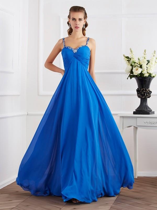 A-Line Chiffon Spaghetti Straps Long Royal Blue Prom Dresses