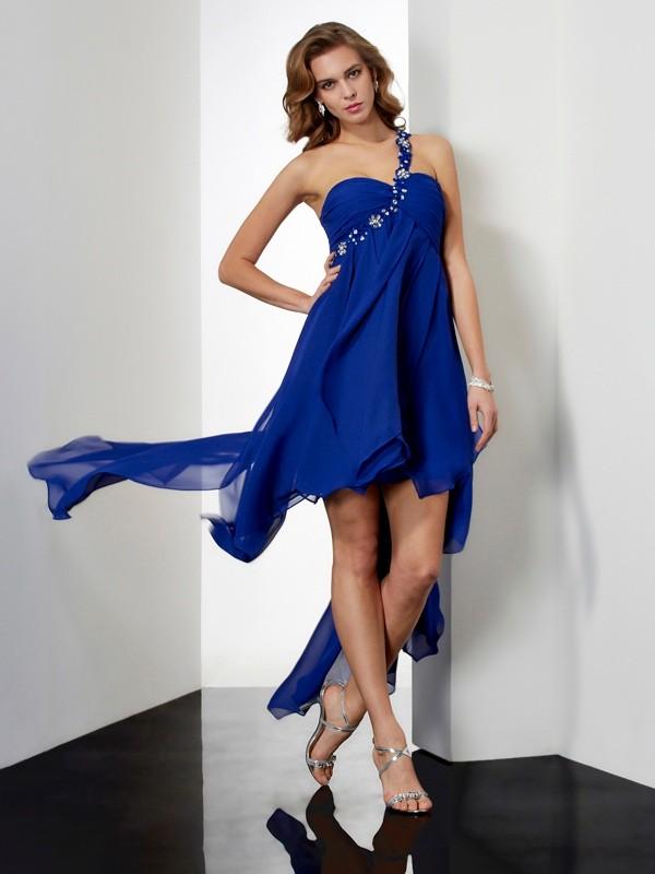 A-Line One-Shoulder Asymmetrical Royal Blue Homecoming Dresses