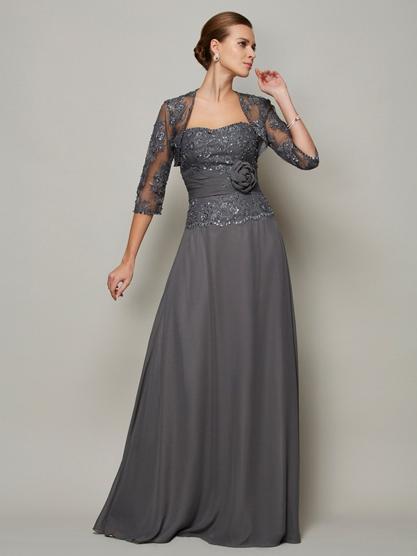 A-Line Sweetheart Long Grey Mother of the Bride Dresses with Applique